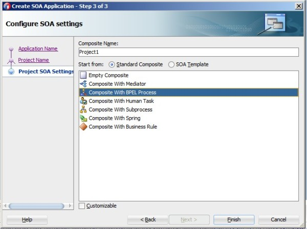 Create SOA Application - Step 3 of 3